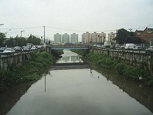 Rio Tamanduateí na divisa de São Paulo (à direita) e São Caetano do Sul (à esquerda).